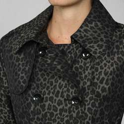 London Fog Womens Leopard Double breasted Trench Coat