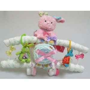 Welcome the New Arrival Gift Plane   Baby Girl Gift Basket