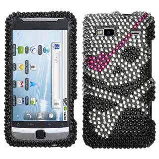 FOR T Mobile HTC G2 Hard Cover CASE  SKULL BLING BLACK RHINESTONE