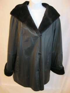 Black Leather Look Faux Fur Lining Hoodie Coat/Jacket NICE