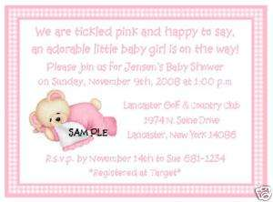TEDDY BEAR GIRL PERSONALIZED BABY SHOWER INVITATIONS