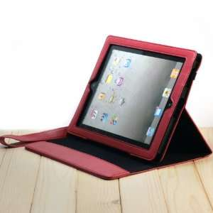 High Quality Leather Red Cover/Case With a Stand for iPad