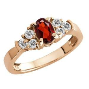 0.91 Ct Oval Red Garnet and White Topaz Gold Plated Silver