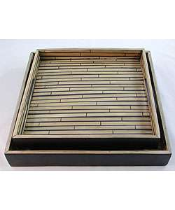 Black and Natural Square Bamboo Tray Set (Vietnam)  Overstock