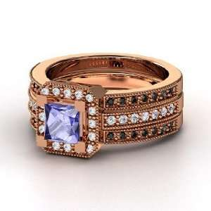 Va Voom Ring, Princess Tanzanite 14K Rose Gold Ring with Diamond