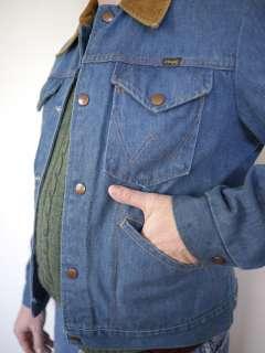 1970s Classic WRANGLER Mens DENIM Jean JACKET Coat USA Small