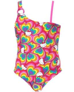 New Girl Hello Kitty Rainbow One Piece Swimsuit Swimwear Size 2T 3T 4T