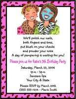 Spa Make Up Birthday Bridal Shower Party Invitations