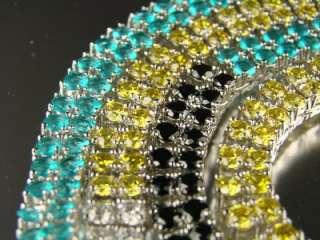 WHITE GOLD FINISH MEN 2 ROW MULTI COLOR SIMULATED DIAMOND CHAIN