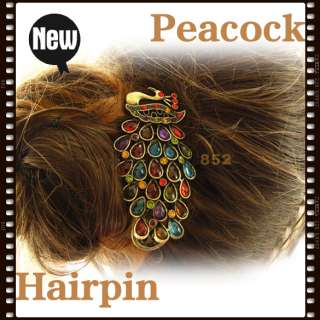 Vintage Colorful Retro Crystal Peacock Hair Pin Clip