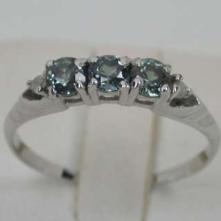 CTS 14K SOLID WHITE GOLD NATURAL ALEXANDRITE TRILOGY BAND DIAMOND RING