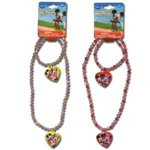 2 Sets Mickey & Minnie Mouse Necklace and Bracelet Set