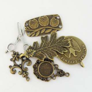 Mixed Size Antique style bronze/silver tone jewelry charm pendant