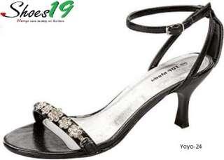 Rhinestone Ankle High Heel Evening Sandal Shoes BLK 6.5