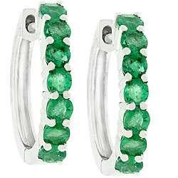14k White Gold Emerald Hoop Earrings