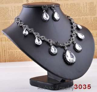 free 6color tear drop womens Necklace Earring Set white gold plated