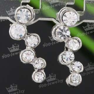 Crystal Rhinestone Bead Dangle Ear Stud Earring Fashion Jewelry 2PCS