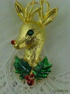 Vtg Gerrys red nose Reindeer Christmas Pin Brooch