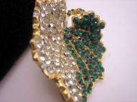 Hattie Carnegie Pave Crystal Green Rhinestone Leaf Pin