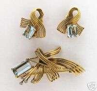 1960s YELLOW GOLD EMERALD CUT AQUA AND DIAMOND PIN AND EARRINGS SET