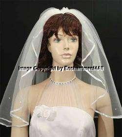 DIAMOND WHITE Wedding Bridal Veil Swarovski Crystal, 5