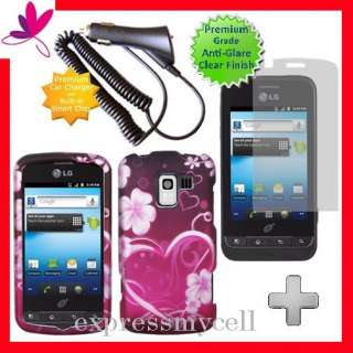 + PUR HEART Hard Case Cover Straight Talk NET 10 LG OPTIMUS Q