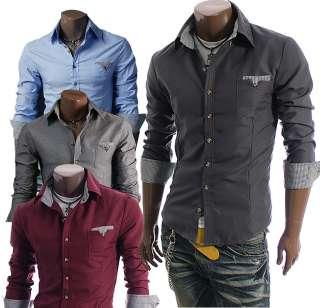 doublju Mens Casual Pocket Dress Shirts BLUE/CHARCOAL/WINE/GRAY (D063