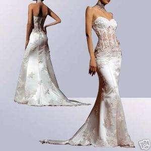 White/Ivory Mermaid Wedding Prom Dress Formal Gown SizeCustom