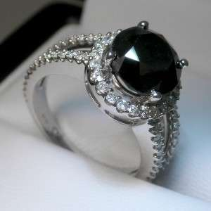 65 CTW BLACK ROUND SHAPED DIAMOND 14K SOLID GOLD RING