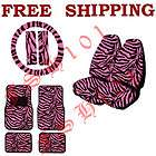 Pink Zebra Seat Covers Steering Wheel Cover Floor Mats & License Plate