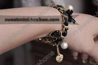 Hot Full Crystal Ball Heart White Pearl Link Bracelets