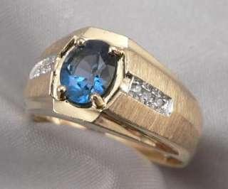 14K Solid Yellow GOLD 1.53ctw LONDON BLUE TOPAZ & DIAMOND Mens RING