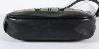 Coach Signature Khaki Canvas Baguette Clutch Navy Leather Trim 6094
