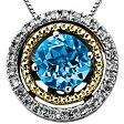 Licensed Blue Topaz and Diamond Accent Birthstone Pendant in Sterling