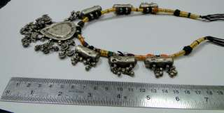 vintage antique ethnic tribal old silver beads necklace w charms blue