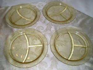 Evans Glass Stippled Rose Band Grill Plates Amber Yellow