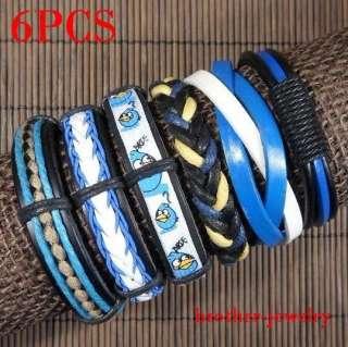Wholesale lots Cool ethnic tribal 6pcs genuine leather bracelet T036