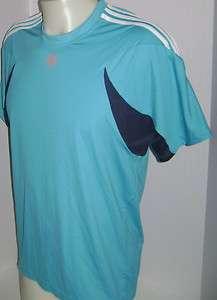New Men Adidas Roland Garros Crew Neck Tennis Shirt Blue M