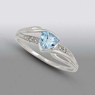 Blue Topaz and Diamond Accent Ring. 10K White Gold  Jewelry Gemstones