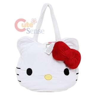 Sanrio Hello Kitty Face Plush Shoulder Bag Hand Bag w/ 3D Red Bow