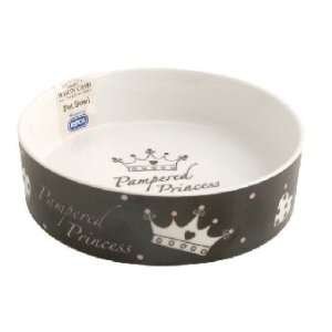 Pampered Princess Pets Feeding Bowl, Black