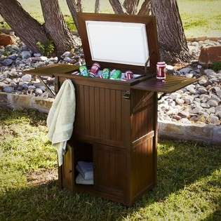 Southern Enterprises Inc. Outdoor Ice Box Cooler in Dark Brown Finish