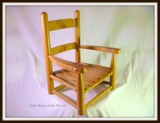 Wooden Vintage Kids Booster Chair Slatted Child Seat Baby Bunnies