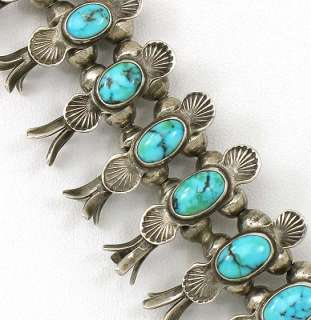 ESTATE NAVAJO STERLING SILVER SQUASH BLOSSOM TURQUOISE NECKLACE
