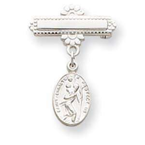 Sterling Silver Saint Christopher Medal Pin: Jewelry