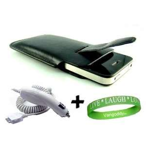 iPhone 4 leather Case Accessories Kit BLACK Faux Leather Holster
