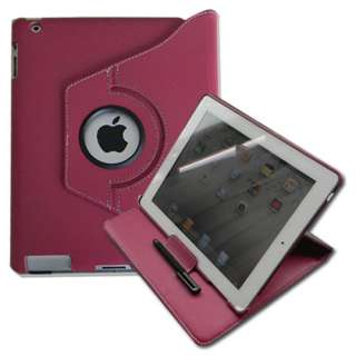 The New iPad 3 360° Rotating Magnetic PU Leather Case Cover Stand W