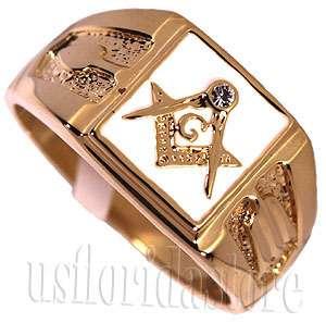 Square White Masonic Mason 18kt Gold Plated Ring New