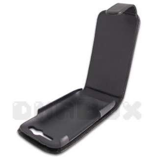 Leather Case Pouch Cover + Film For HTC Desire S p_Black