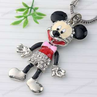 Enamel Mickey Mouse Crystal Pendant Silver Plated 1pc Fit Necklace